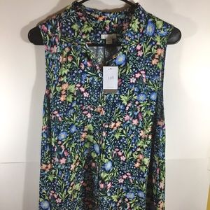 J Jill Long Sleeveless Shirt Dress L Petite Floral